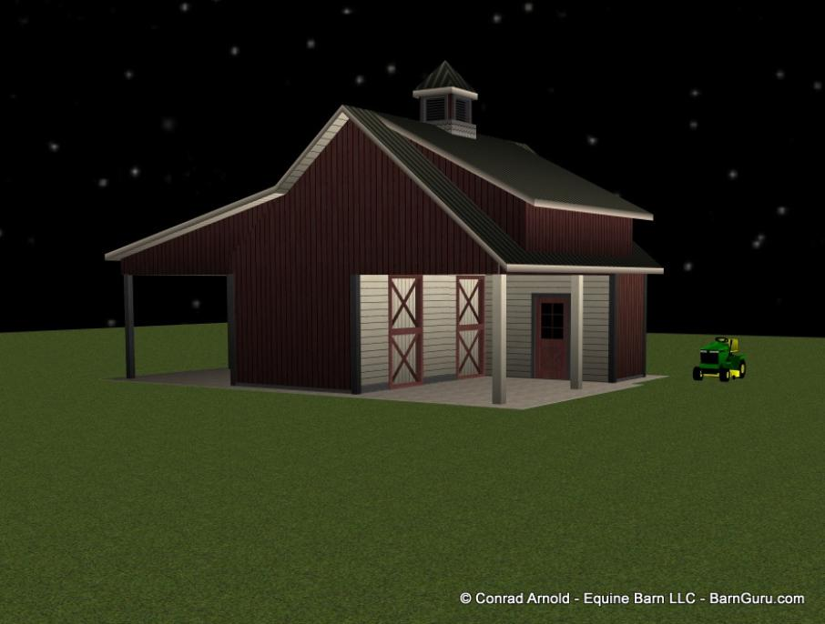 2_Stall_Shed_Row_With_Loft_With_Run_In