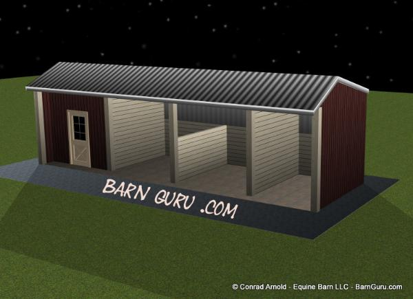2 horse run-in shed - Conrad Arnold Equine Barn Company In Ga