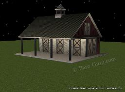 3_Stall_Horse_BARN_Shed_ROW_Buy_PLANS