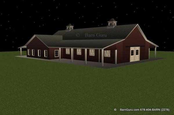 8 stall horse barn plans for Horse barn with apartment plans