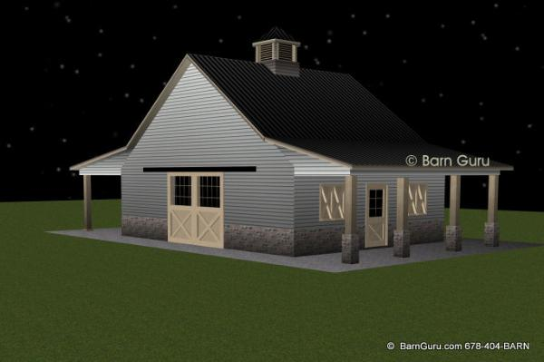 2 stall horse barn with loft