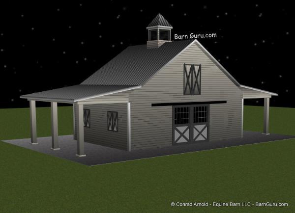 3 Stall Horse Barn Plan