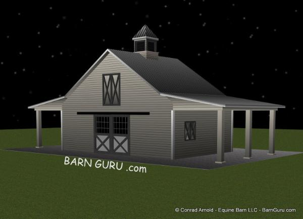 3 stall horse barn design with 12 ft sheds - barn builder in ga