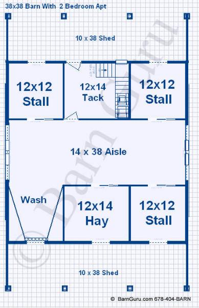 Barn plans with living quarters 4 stalls 2 bedrooms for 3 stall horse barn plans