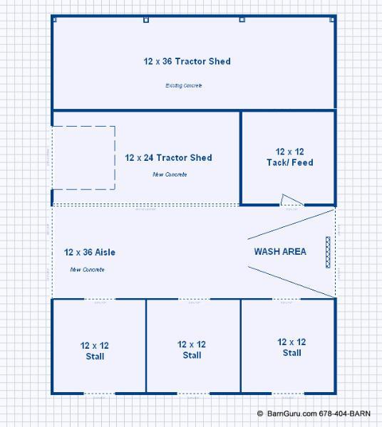 Barn Plans 3 Stall Horse Barn Design Floor Plan