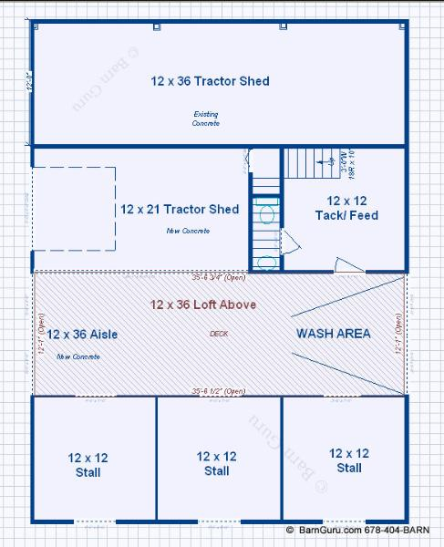 Barn Plans 3 Stall Horse Design Floor Plan Ga