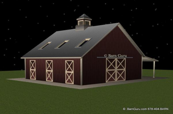 3 Stall Horse Barn With Bath And Loft _ Barn Guru.com - Ga Barn Builder