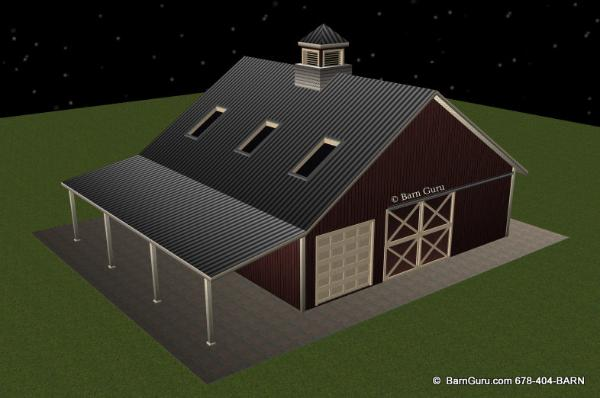 3 Stall Horse Barn With Bath And Loft and Tractor Shed_ Barn Guru.com -