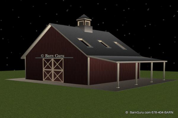 3 Stall Horse Barn With Bath And Loft _ Barn Guru.com - 36 x 36