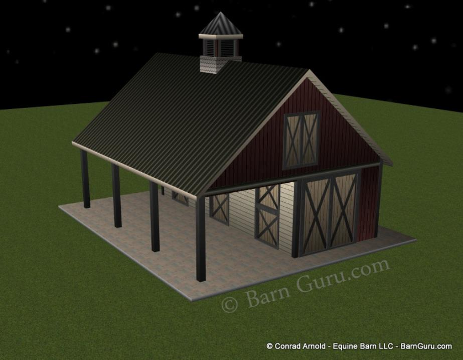 3 stall shed row horse barn plans for Four stall horse barn