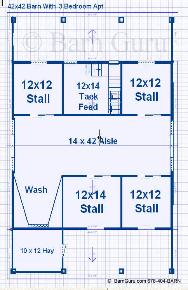 Horse Barn - Floor Plan -4 Stalls 3 Bedrooms Upstairs