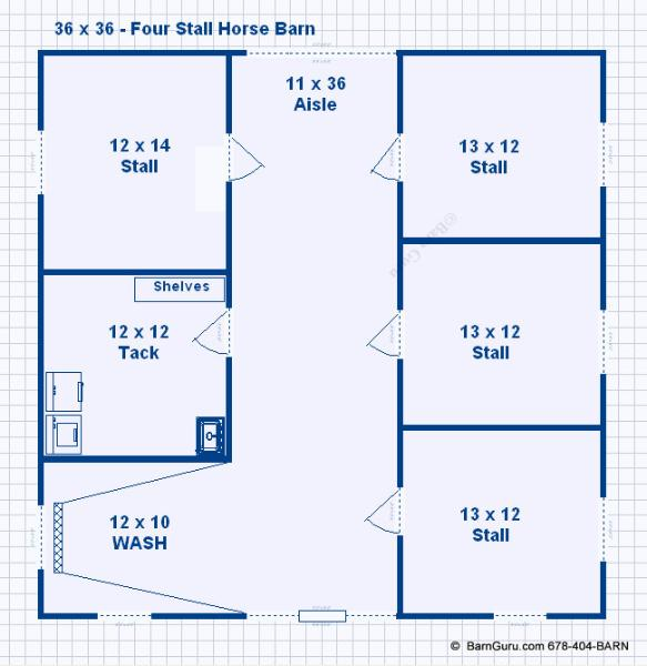 Barn Plans 4 Stall Horse Design Floor Plan