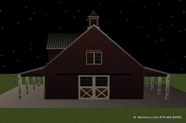 Barn plans with living quarters 4 stalls 2 bedrooms for Horse barn with apartment plans