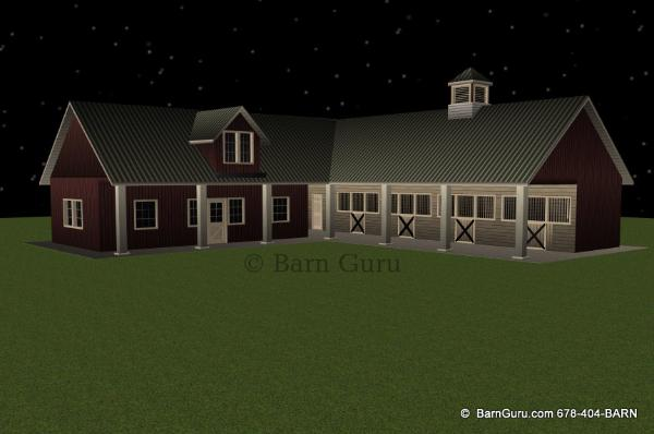 New shed row horse barn with living quarters for 4 stall horse barn