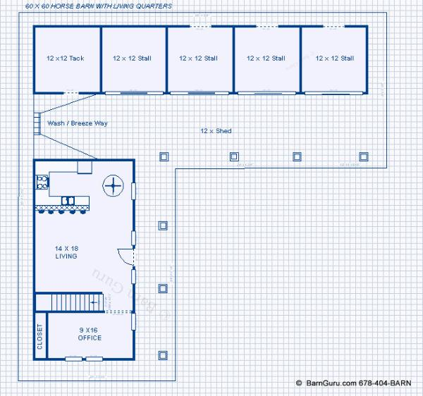 Horse barn plans with living quarters above chellsia for Horse stable blueprints
