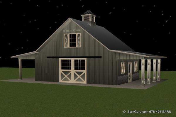 2 stall horse barn plan with loft barn builder in north ga for Horse barn designs
