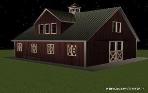 Barn Plans 5 Stall Horse Barn 2 Bedroom Living Quarters