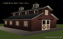 6 Stall Horse Barn - Tack & Feed -6 Stall Horse Barn - M6 Stall Horse Barn - Monitor Style - Design 6 Stall Horse Barn - Monitor Style - Design Plan - Sale - Ga Horse Barn Builder