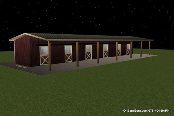 Shed Row 6 Stall Horse Barn Design Floor Plan