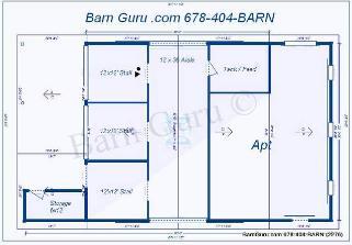 Barn with living quarters floor plan joy studio design for Horse barn with living quarters floor plans