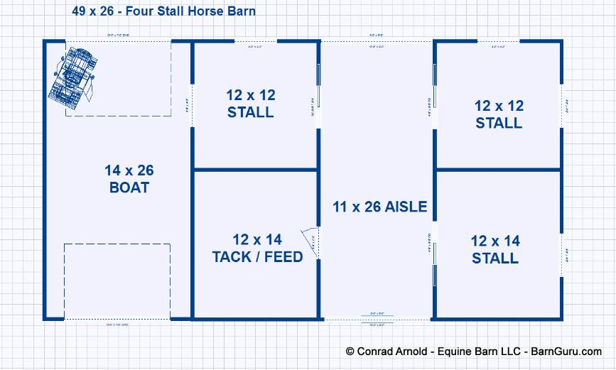 Barn Plans 3 Stall Design Floor Plan