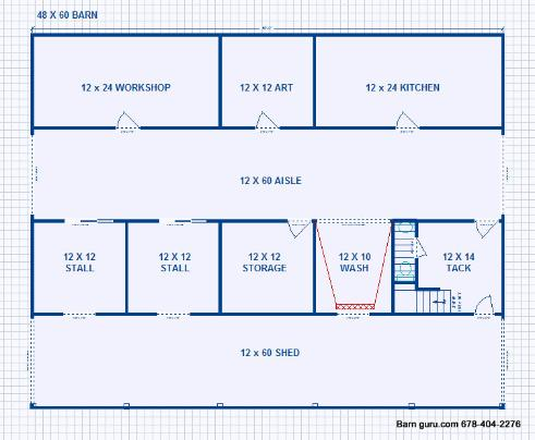 Barn plans with living quarters 36 x 60 for Barn living floor plans