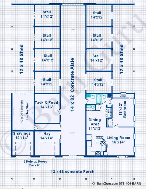 Horse barns with living quarters floor plans for Barn living floor plans
