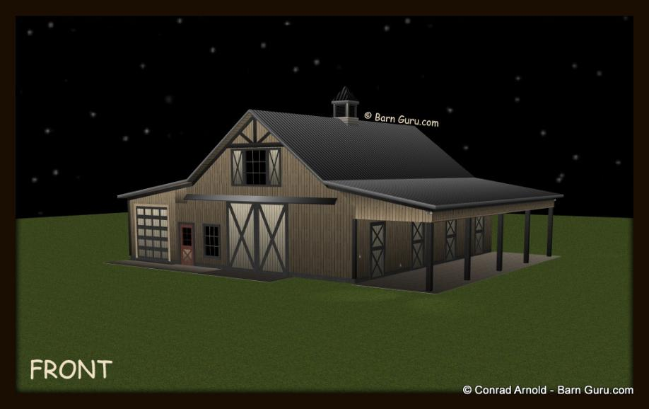 4 stall horse barn plans with storage for Four stall horse barn