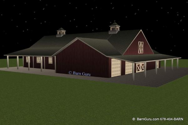 8 Stall Horse Barn With Living Quarters - ga Barn Builder