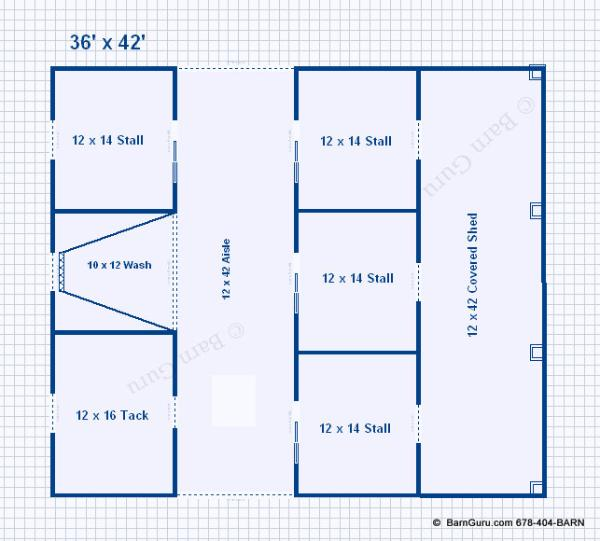4 stall horse barn plans the image kid for Six stall horse barn plans