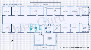 10 Stall Horse Barn Plan - Blue Prints - Buy Horse Barn Plans - Living Quarters