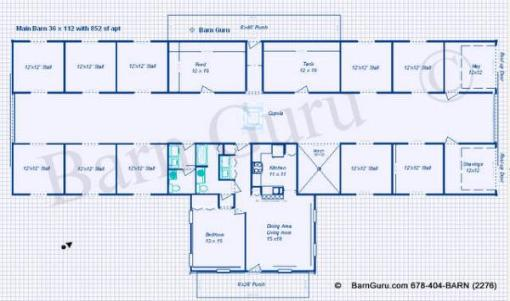 Charmant 10 Stall Horse Barn Plan   Blue Prints   Buy Horse Barn Plans   Living  Quarters