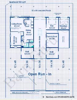 Open Area for future stalls - 8 Stall Horse Barn With Large 1st floor Living Quarters - Plan - Horse Barn Plans