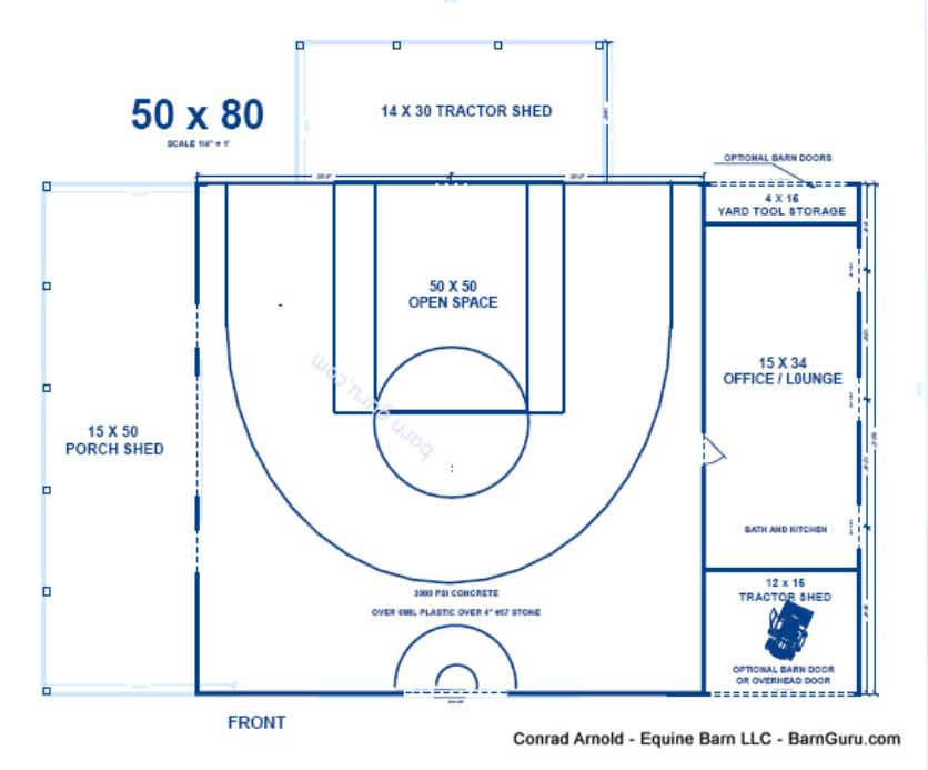 Half court basketball barn for Dimensions of basket ball court