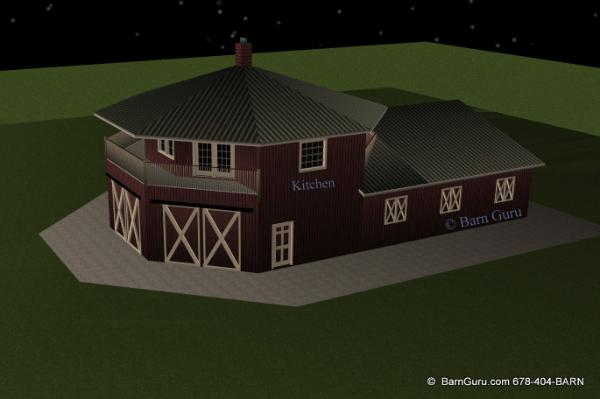 Barn Plans -4 Stall Horse Barn - Living Quarters Design Floor Plan