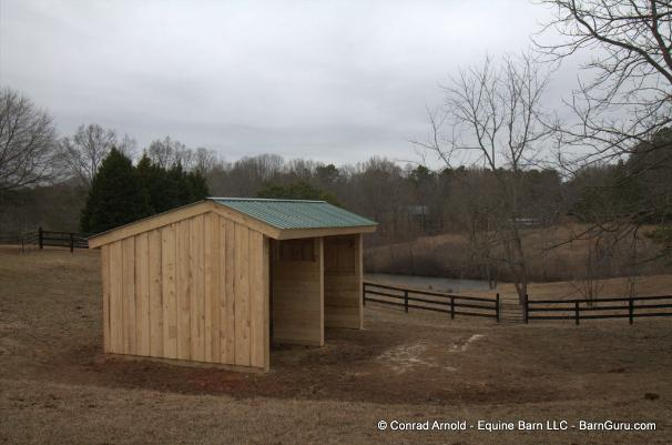 2 Horse Run - In Made From Rough Cut Pine - Board On Board - Barn Guru .com Equine Barn LLC = Conrad Arnold