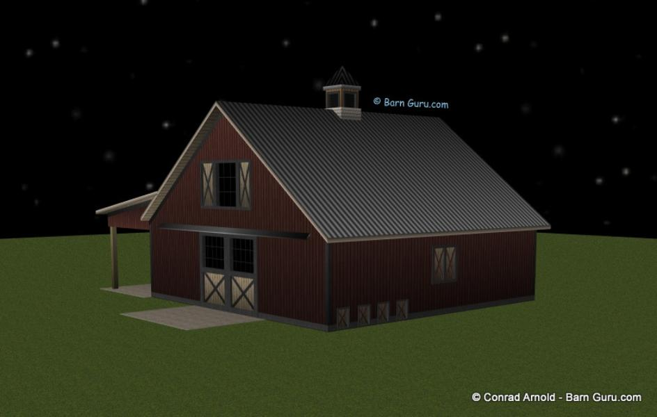 Horse barn plans for 4 stall barn designs