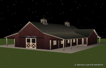 8 Stall Horse Barn With Living Quarters - Tractor Shed - Hay And Shaving Bays