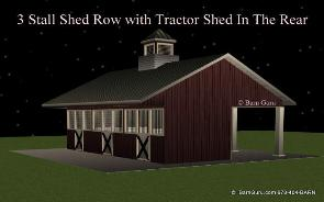 Run In 3 Stall Horse Barn Tractor Shed Design Plans