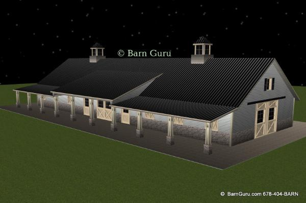 12 stall horse barn design plan - Ga horse barn builder- plans for sale