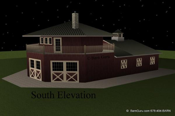 4 stall horse barn with apartment design plan for sale