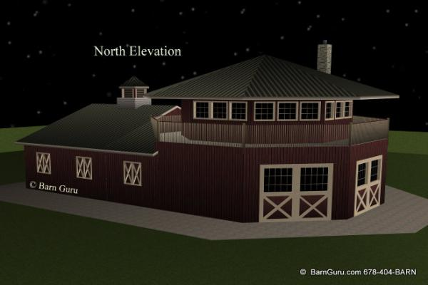 Barn Plans  Stall Octagon Horse Barn Living Quarters Apartment
