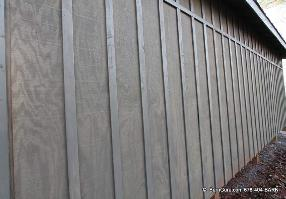 Board And Batton Siding That Is Stained With Semi Transparent