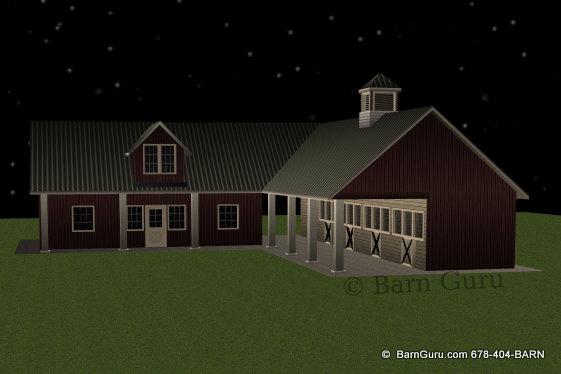 4 Stall Sder Row Horse Barn With Living Quarters
